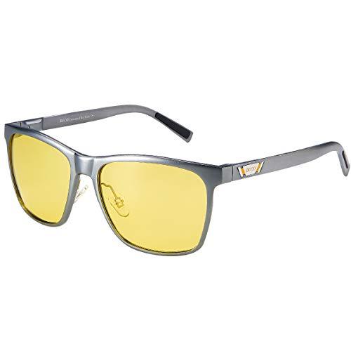 Duco Herren und Damen Polarisierte Blendschutz Nachtfahrbrille HD Nachtsicht Gelb Fahrbrille 3029Y (Rotguss)