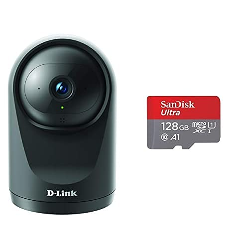 D-Link DCS-6500LH Cámara WiFi Seguridad hogar, Full HD, Lente motorizada visión 360°, visión Nocturna+SanDisk Ultra Tarjeta de Memoria microSDXC con Adaptador SD, hasta 120 MB/s