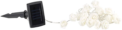 Guirlande lumineuse solaire à LED roses blanches - 2 m [Lunartec]