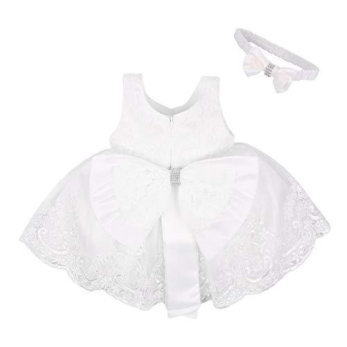 Vestido de Bautizo + Diadema Recién Nacido Bebés sin Mangas Verano Transpirable...
