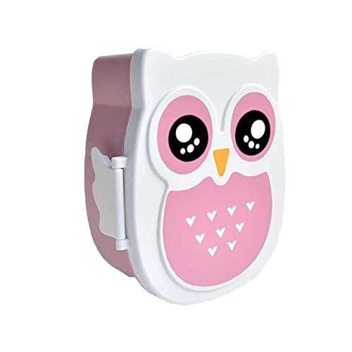 WSYW Cajas de almuerzo para niños Bento Cajas de almuerzo para niños, Bento Boxes Lunch Owl Cartoon Plastic Lunch Box Ideal para comida Prep Rosa