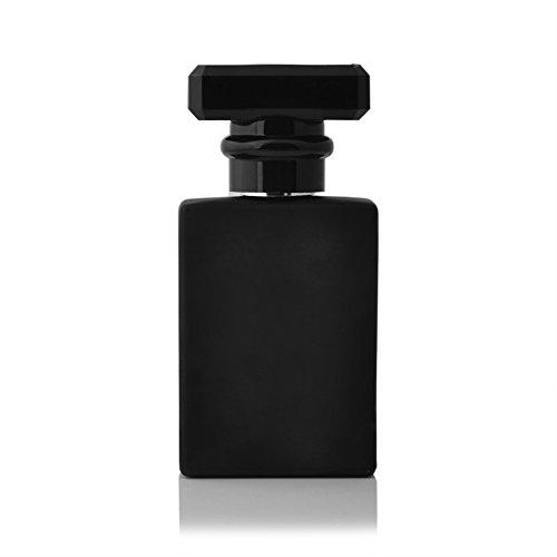 Enslz 30ML perfume de vidrio negro portátil botella vacía atomizador recargable con aluminio cosmético caso para viajar (negro)