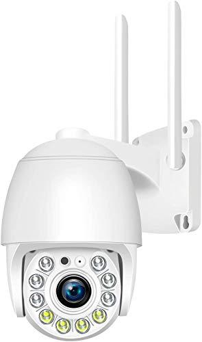 TIANLE Cámara de Seguridad, WiFi inalámbrico para Exteriores, Videovigilancia, para Sistema de Seguridad en el hogar, Audio bidireccional, Detección de Movimiento, Visión Nocturna 1080P, Impermeable
