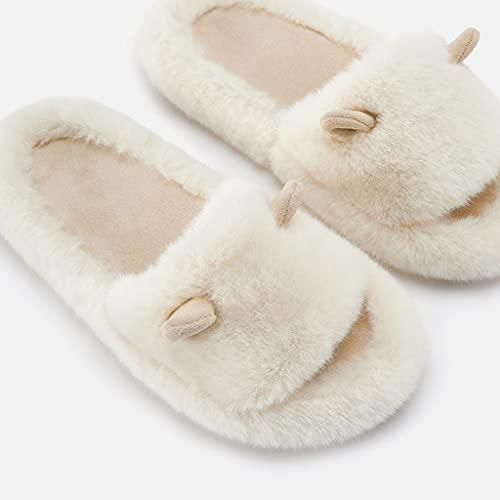 HOUFT Zapatillas De Algodón para Mujer Otoño/Invierno Lindas Zapatillas De Casa Antideslizantes Calidez Dormitorio Baño Sala De Estar Suelas De TPR Imitación De Cuero De Barro Suave Y Felpa Corta