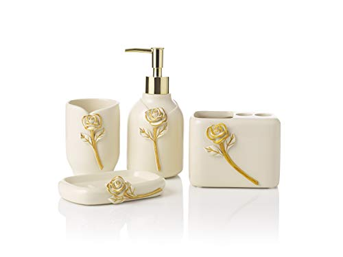 Premium Ivory White Rose Bathroom Accessories Set. Home and Apartment Essentials Including Hand Pump Soap Dispenser, Soap Dish, Toothbrush Holder, and Tumbler Cup. Modern Farmhouse Bathroom Decor