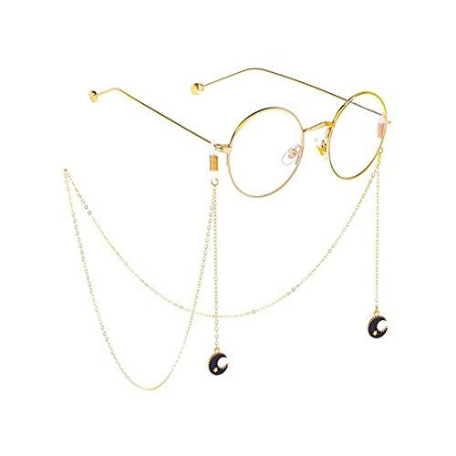 Eyeglass - Cadena con cordón para gafas de lectura, diseño de estrella, triángulo, luna y gafas de sol de metal, cuerdas para gafas y gafas de retención de gafas en oro