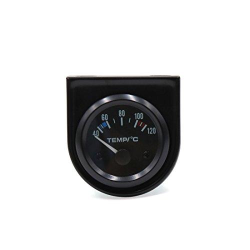 sourcing map Coche 52mm Diám 40C-120C Luz LED Puntero Medidor Reloj Temperatura Agua Carcasa Negra
