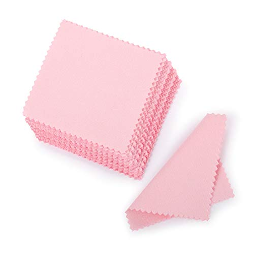 SEVENWELL 50pcs Jewelry Cleaning Cloth Pink Polishing Cloth for Sterling Silver Gold Platinum Small Polish Cloth 8x8cm