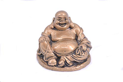 LHR trading inc Happy Buddha Statue - Sitting Laughing Buddha Feng Shui Figurines Wealth and Good Luck for Home & Office Décor - Inspirational Religious Happy Gifts (Bronze)