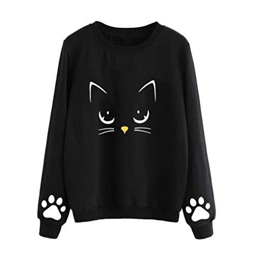Sudadera Mujer Gato Camiseta Blusa de Otoño e Invierno de Manga Larga con Cuello Redondo Sudaderas Mujer Invierno Tumblr y Originals en Rebajas y Baratas