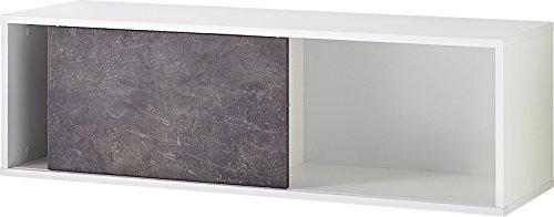 Germania 4153-261 Schiebetürregal mit 2 offenen Fächern GW-Altino in Weiß/Basalto-Dunkel, 120 x 37 x 36 cm (BxHxT)