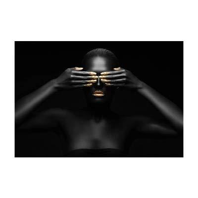 BGFDV Arte Africano Tez Negra Mujer Dorada Pintura al óleo Lienzo póster Impresiones Arte de la Pared Imagen decoración Sala de Estar