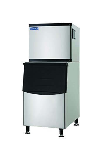 Commercial Ice Maker 350 Pounds Per Day with 235 lbs Storage Bin – Stainless Steel Industrial Modular Ice Cube Machine – Quiet Operation – Air Cooling System - by Foster