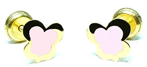 Pendientes oro 18 k niña/mujer antialergicos mariposa con esmalte rosa pastel de calidad pintado a...