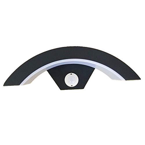 Moderno Sensor Led Lámpara De Pared Exterior Anthracite Color Blanco Cálido 3000K, 12W, Detector De Movimiento Ajustable Máx. Rango De 7 M, 29,1 X 10,5 X 9,1 Cm Ip 54