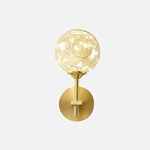 WEM Lámparas de pared, lámpara de pared LED de 5 W, lámpara de pared moderna, pantalla de globo de vidrio, lámpara de pared interior, luces de pared doradas interiores para sala de estar, dormitorio,
