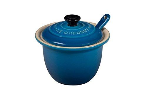Le Creuset Stoneware Condiment Pot with Spoon, 6 3/4-Ounce, Marseille