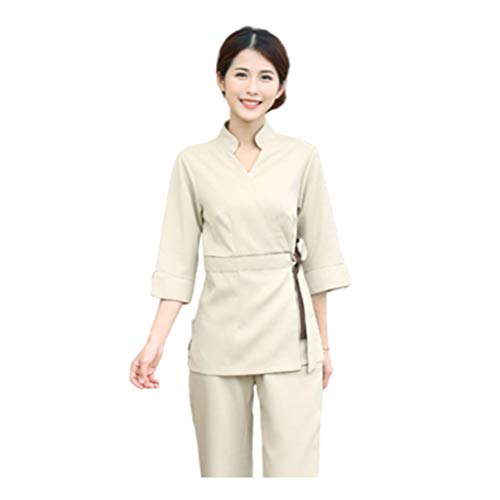 Minkissy Peeling Top Hosen Frauen Kosmetikerin Arbeitskleidung Salon Spa Uniform Baumwolle Kleidung Krankenhaus Arbeit Arbeitskleidung V-Ausschnitt Kostüm 1 Set / 2 Stück Größe XXL