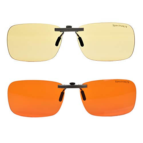 Clip-on Blue Blocking Eye Wear - Special Tinted Lenses Help You Sleep and Relax Your Eyes (Day & Night Combo Pack)