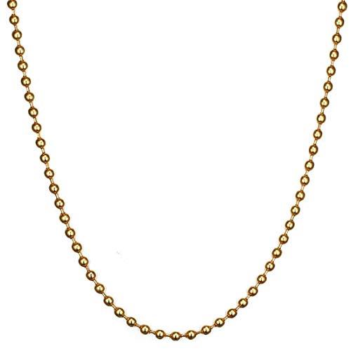 12mm ゴールドボール ステンレスチェーン ステンレスネックレス メンズ (60cm) シンプル 金色 ペンダント チョーカー プレーン 極太 太い 太め 重厚 ロング