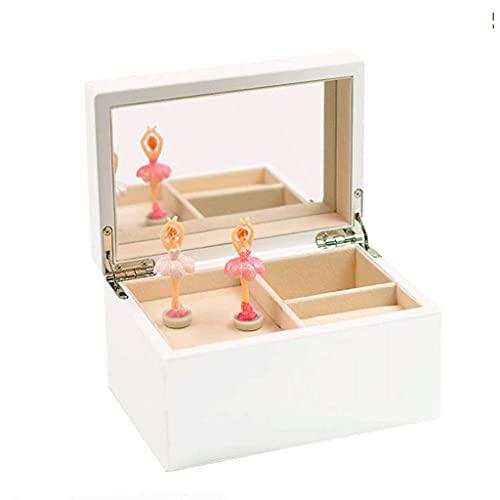 TEAYASON Caja de Música de Joyería Movimiento de Cuerda de Ballet Giratorio de Madera para Cumpleaños de Compañeros de Clase,Blanco Aa,Alicia