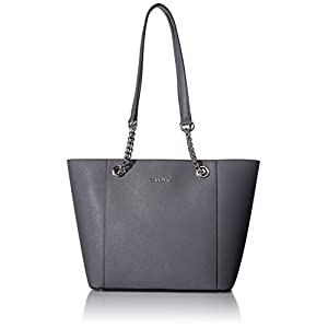 Fashion Shopping Calvin Klein Hayden Saffiano Leather East/West Top Zip Chain Tote