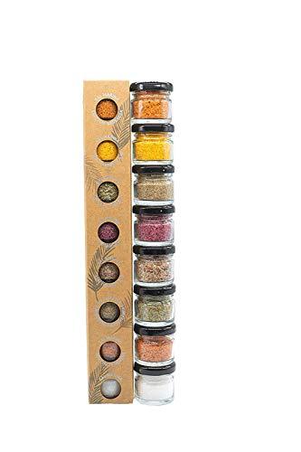 Glosa Marina - Gourmet Salze, Salz aus Mallorca als ideales Gewürze Geschenkset/Salzset 8x25gr besondere Geschenke aus Meersalz