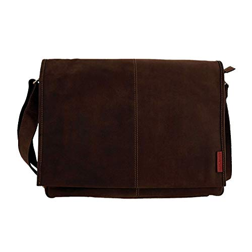 Laptoptasche Messenger-Bag aus geöltem Buffalo Leder 42x29x9 cm. Extremely rugged Outback Wear.Modell: Darwin , Farbe / Colour:Dark Muskat