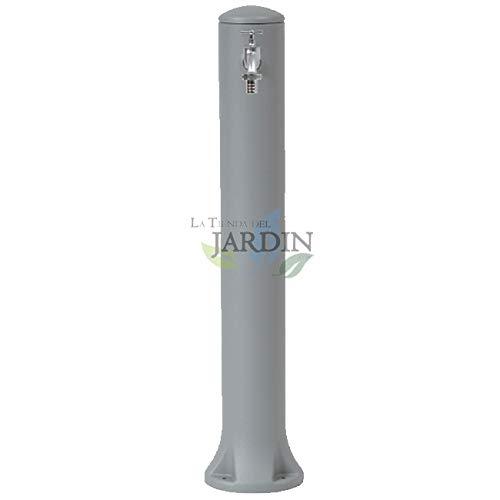 Tuinfontein in modern design in grijs. Hoogte 90 cm, diameter 12 cm incl. aansluiting op tuinslangen.