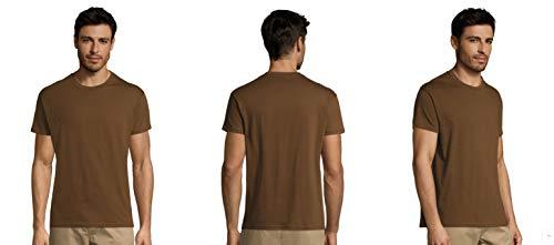 Pack DE 3-5-10-25 -50 o 100 Camisetas Marrones 100% Algodon Unisex