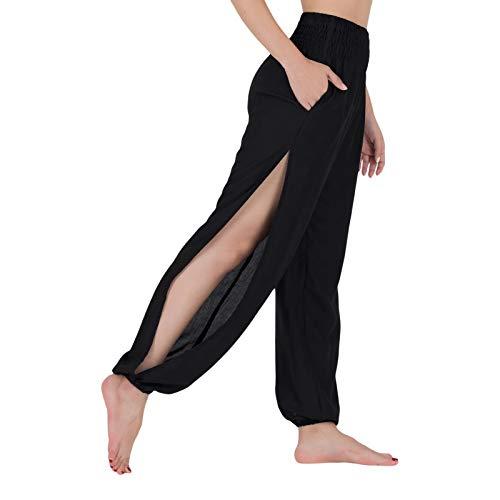 LOFBAZ Pantalones deportivos de yoga de hendidura media para mujer, pantalones de playa - negro - X-Large