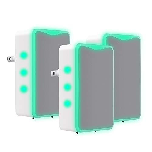 Purificador de aire para el hogar y la oficina, olor a humo y mascotas, enchufe directo, purificador de aire iónico portátil, tamaño viaje, 3 unidades (gris)