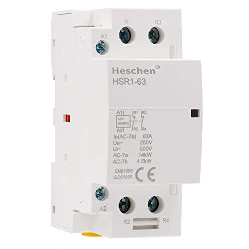 Heschen Contactor de CA doméstico HSR1-63 Ie 63A 2 polos Dos normalmente cerrados 12V Voltaje de bobina 35mm Montaje en carril DIN