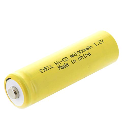 Exell Nickel-Cadmium Button-Top Cell Rechargeable Battery for Solar, Outdoor, and Garden Lights (Exell AA, 1.2 Volts, 1000mAh)