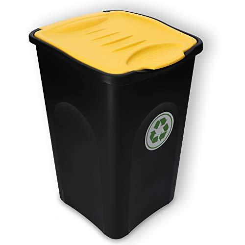 KADAX Voluminöser Eimer, 50L, rechteckiger Mülleimer aus Kunststoff-Polyurethan, Abfalleimer für Trennen von Glas, Plastik, Bioresten (Gelb)
