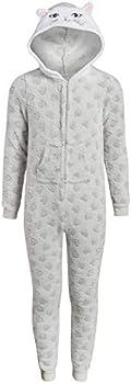 Rene Rofe Girl s Onesie Pajamas with Character Hood Size Small/ 6-6X  Grey Cat Hearts
