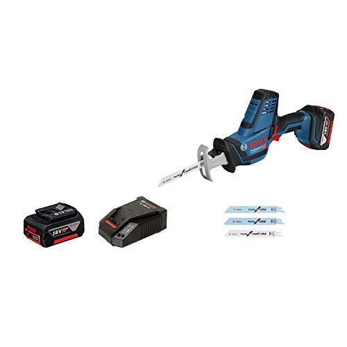 Bosch Professional 06016A5006 - Sega a sciabola GSA 18V-LI C, 2x 4.0 Ah, sistema 18 Volt, versione Compact, in L-BOXX, 18 V, blu