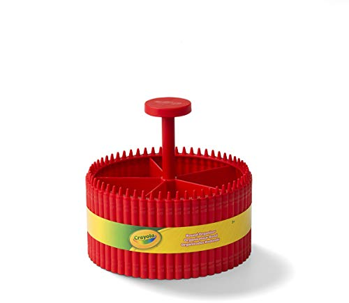Crayola Round Storage Organizer - Creative Kids Desk Organizer With 5 Sections For Storing Pens, Pencils, Crayons And Other School/Office Supplies, Red, Kids 3+ Years