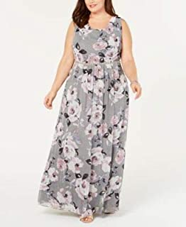 SLNY Womens Gray Floral Sleeveless Scoop Neck Maxi Dress Plus US Size: 14W