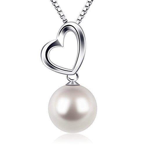 Perla Collares Mujer Plata de Ley 925 Corazón D.Perla Perla Joyas Cunjunto con 45cm Cadena Regalos Originales Para Mujer