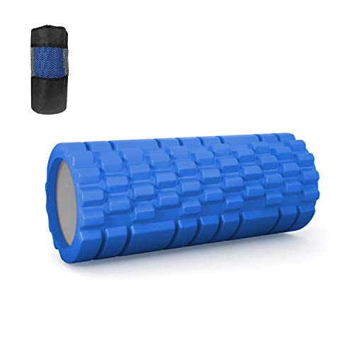 フォームローラー,筋膜リリース グリッドフォームローラー トレーニング スポーツ フィットネス マッサージスティック 筋肉ほぐし ストレス解消 腰痛/肩コリを改善 自宅運動器具 33CM ランブルローラー 収納バッグ付き,ブルー
