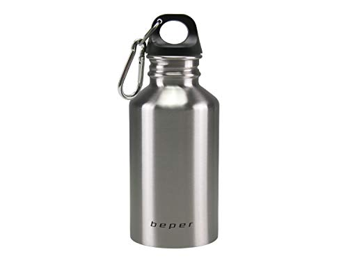 Beper, Acciaio Inox, C102BOT001 – Borraccia Isolante con Moschettone, Facile da Trasportare, 500ml, Isolated Flask, Stainless Steel