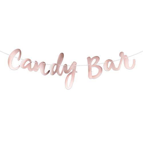 Guirnalda Banner Candy Bar Banderines Papel Decoración Fiesta Boda Bautizo Comunión Oro Rosa