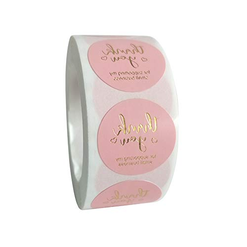 500pc Round Paper Stickers - Thank You for Supporting My Small Business Stickers with Gold Foil, 1 Inch Per and Pink Color, Great for Baking Stores, Craft Shops and Others (1 inch)