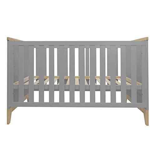 Puckdaddy Babybett Ida – 140x70 cm, Bett aus Holz in Grau, höhenverstellbares Gitterbett mit herausnehmbaren Sproßen, Skandinavisches Design