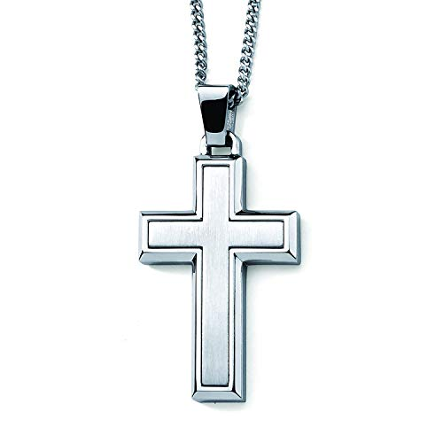 Stainless Steel 1-7/8 Mens Cross Pendant with Brushed Satin Inset on 24 Rope Chain Necklace