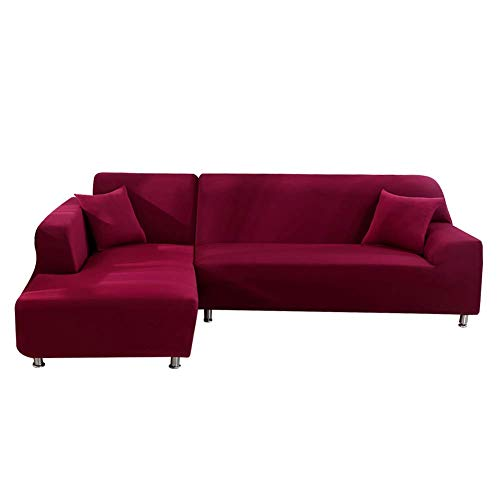 BANNAB Fundas para sofá en Forma de L, 2 Fundas elásticas de Tela de poliéster para sofá, Protector de Muebles con 2 Fundas de Almohada para sofá de Esquina seccional