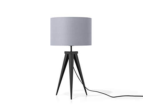 Beliani Moderne Tischlampe Polybaumwolle/Metall hellgrau Stiletto