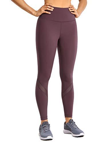 CRZ YOGA Mujer Mesh Leggings Deportivos Cintura Alta Mallas Pantalones de Fitness -63.5cm Violeta Claro 42