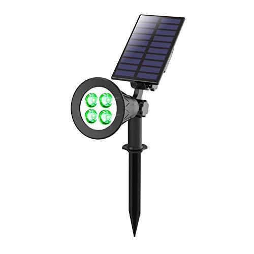 Luci Solari da Giardino, T-SUNRISE 4 LED Faretto Solare da Esterno, 2 Luci di sicurezza a modalità luminosa, IP65 Impermeabile Faretto Led Solare per Patio Prato Albero